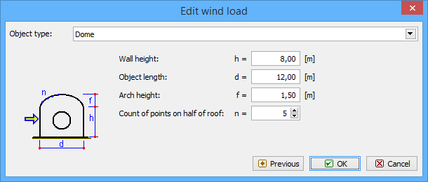 Vault roof and dome | Edit wind load | FIN EC | Online Help