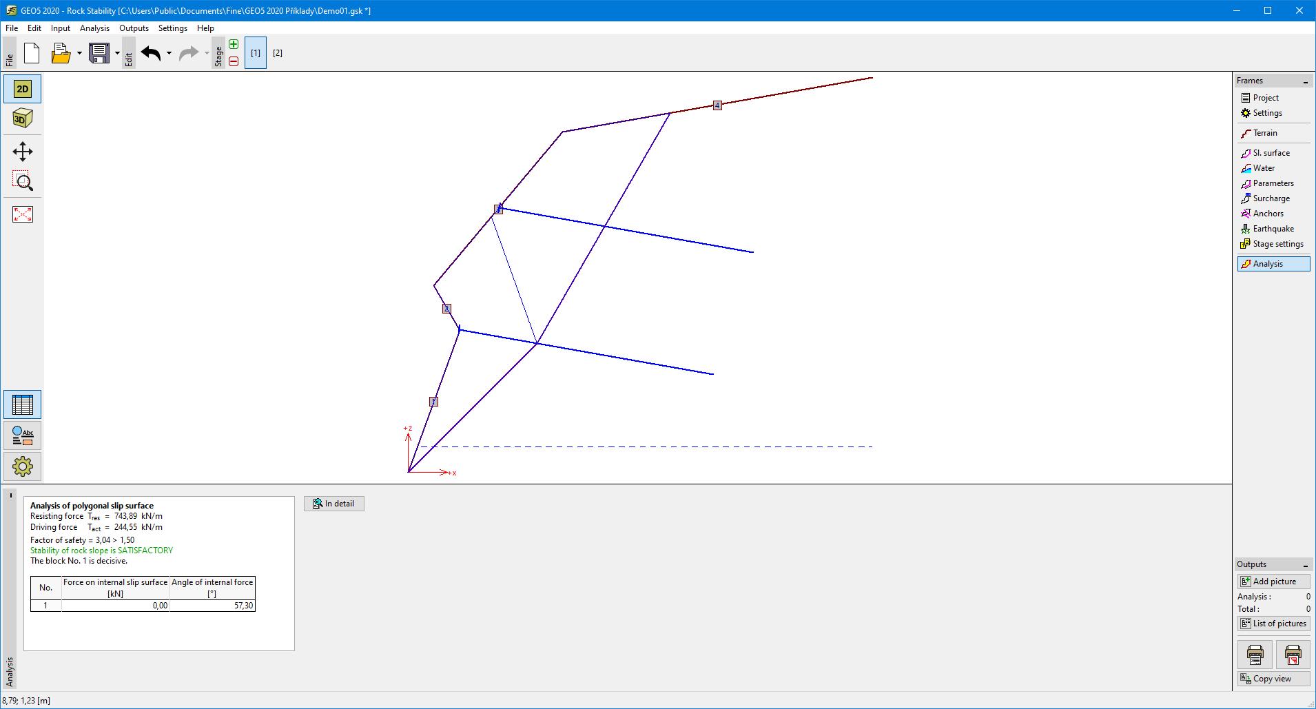 Analysis - Polygonal Slip Surface | Program Rock Stability