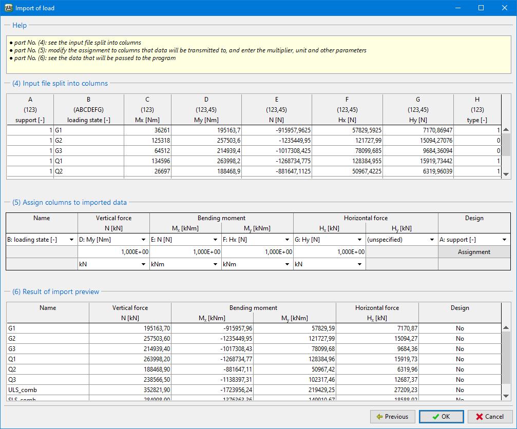 table data import common input geo5 online help