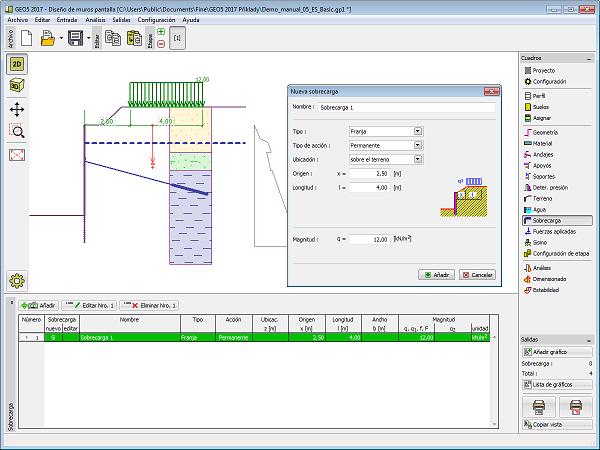 Sobrecarga programa dise o de muros pantalla geo5 for Programa de diseno online