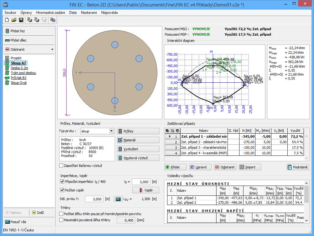 Beton 2D - Posouzení kruhového sloupu - Interakční diagram
