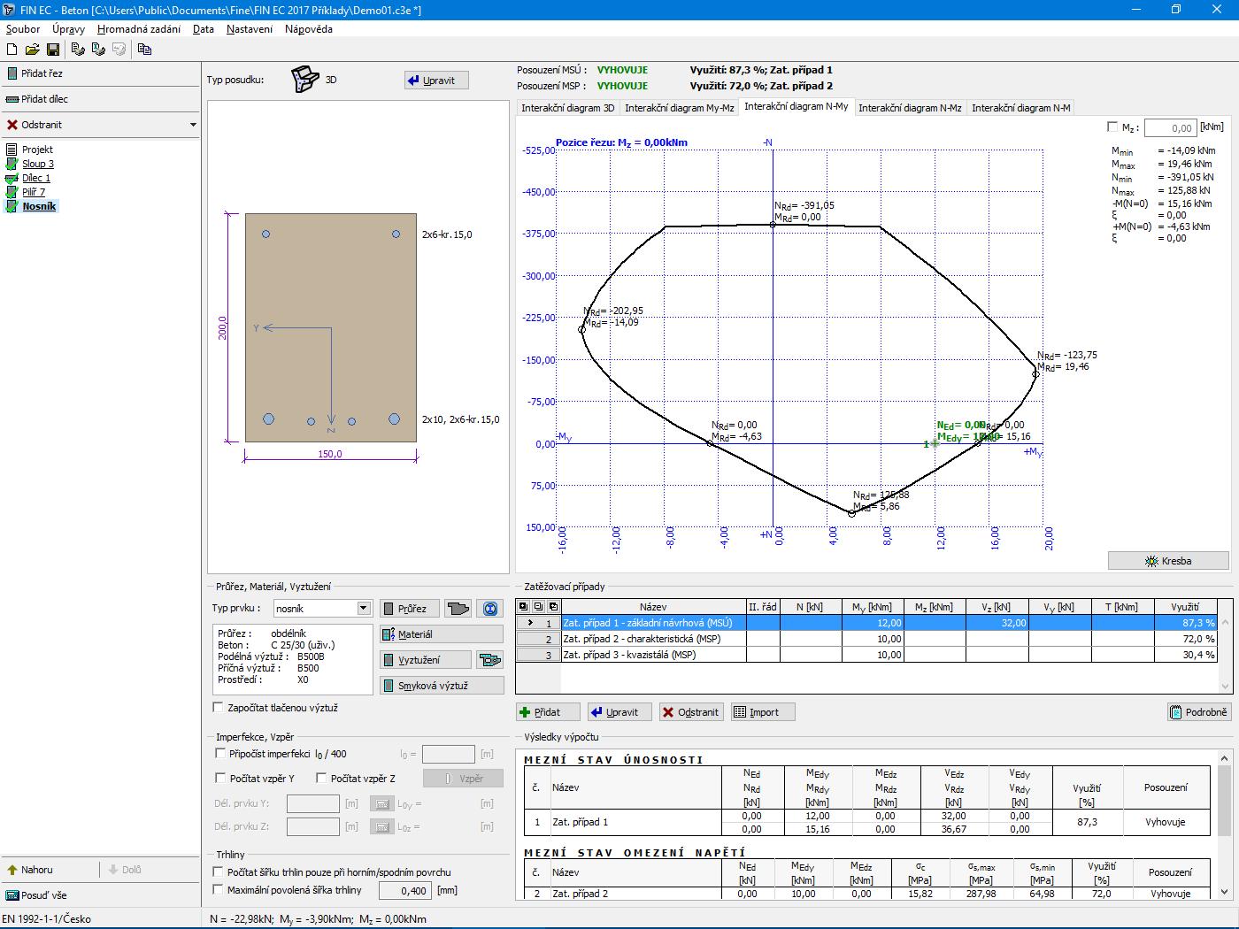 Beton : M-N diagram pro nosník