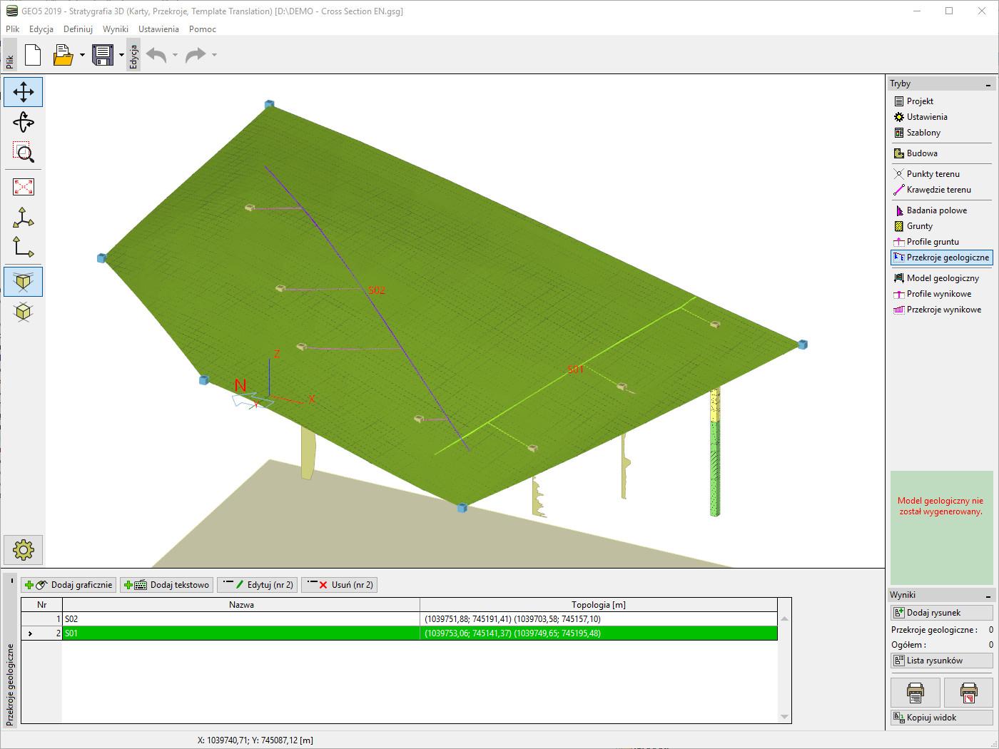 Stratygrafia 3D – Przekroje : Definiowanie nowego przekroju geologicznego