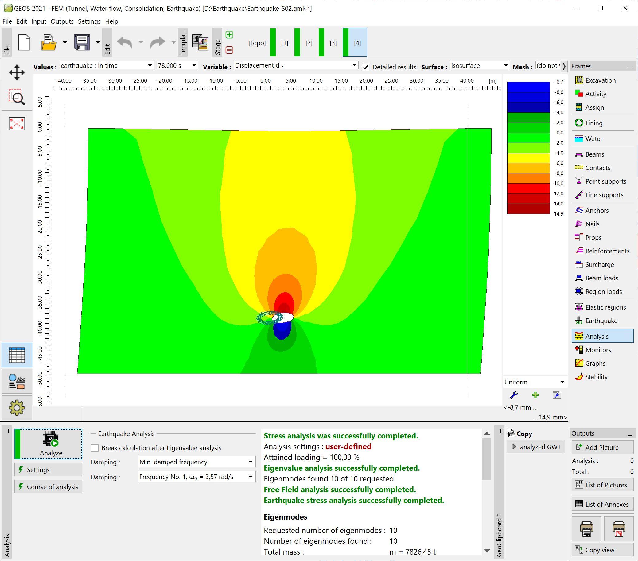 FEM – Earthquake : Earthquake analysis results