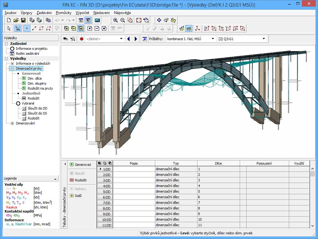 Fin 3D : Zobrazení deformace pro mostní konstrukci
