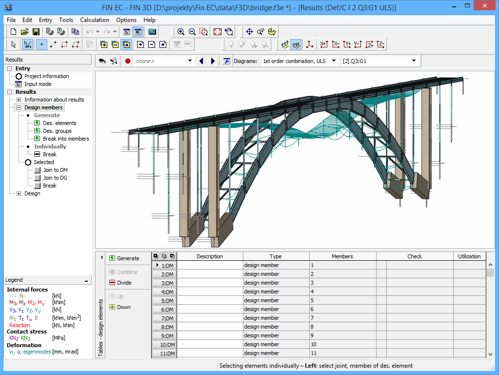 Fin 3D : Results for a bridge