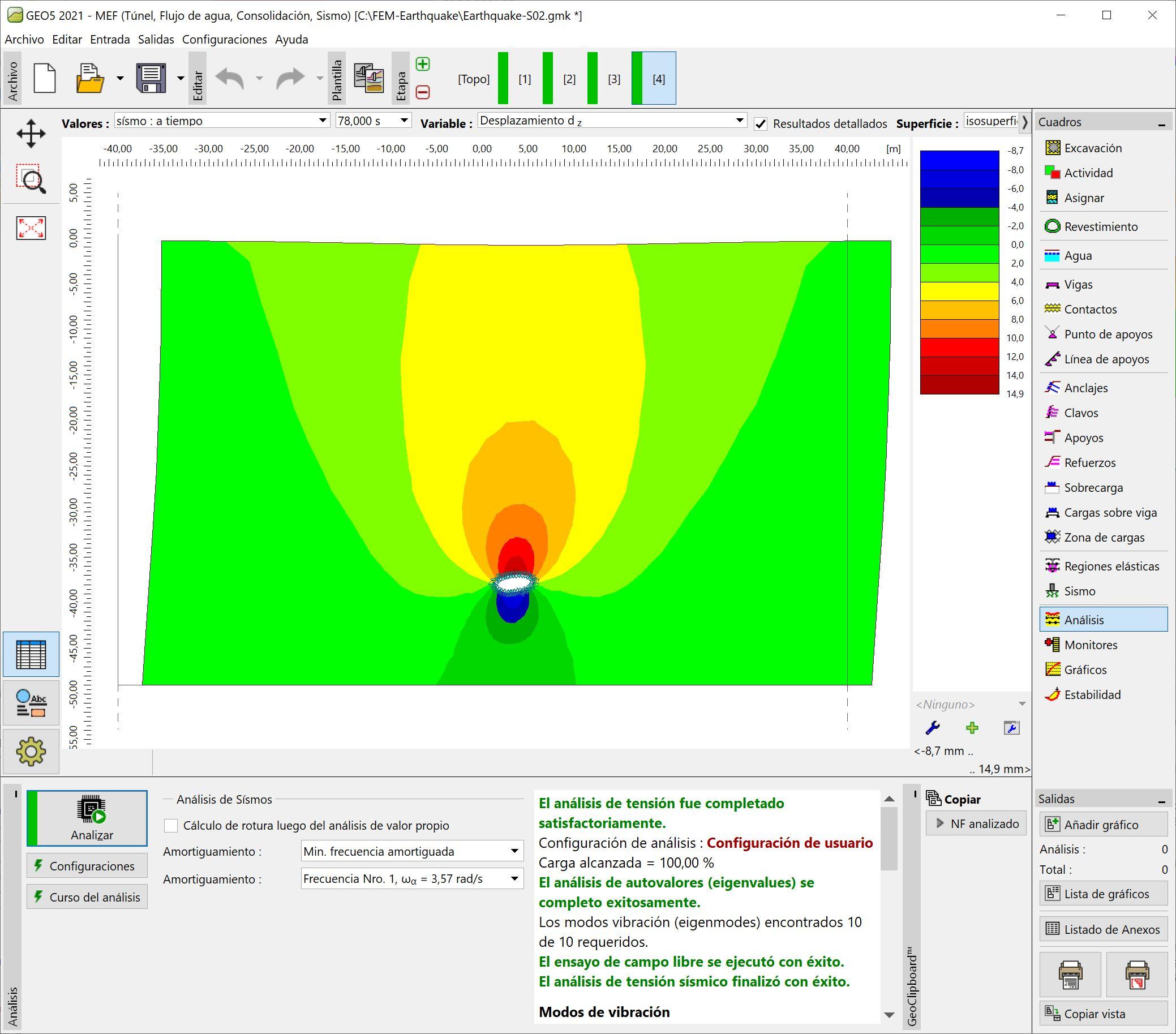 MEF – Sismo  : Resultados del análisis de sismo