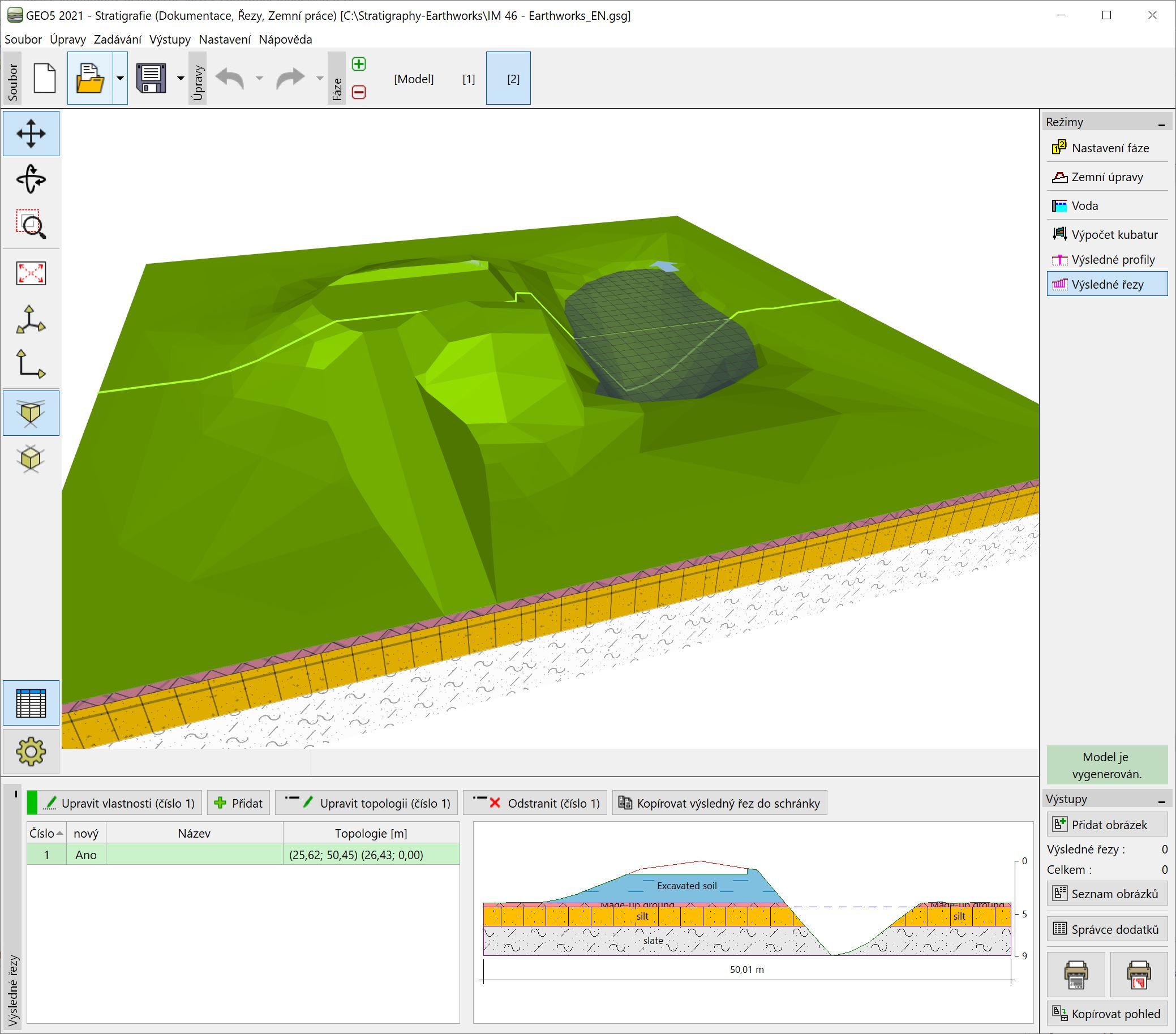 Stratigrafie – Zemní práce : Modelování terénních úprav