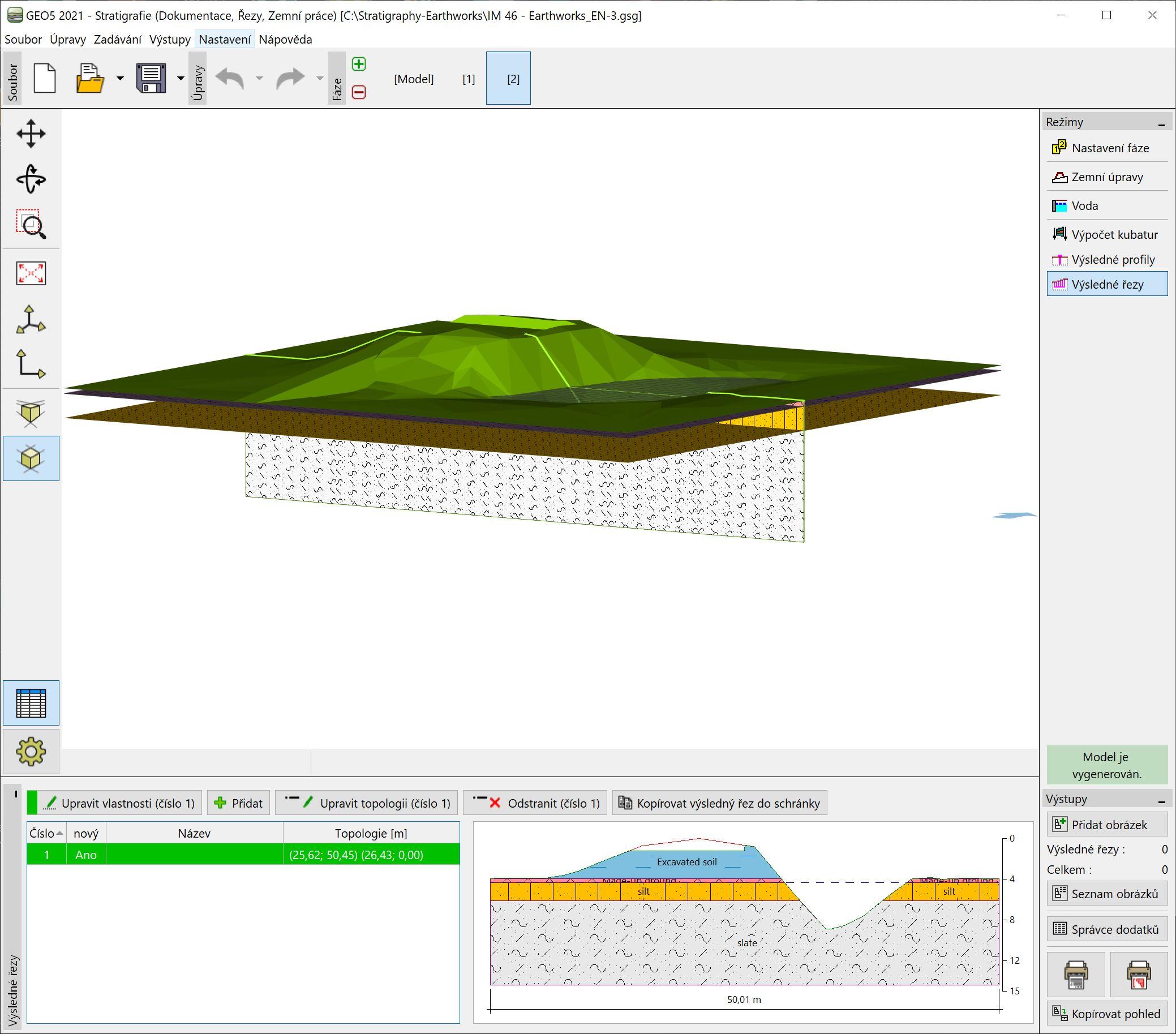 Stratigrafie – Zemní práce : Přenos dat do ostatních programů