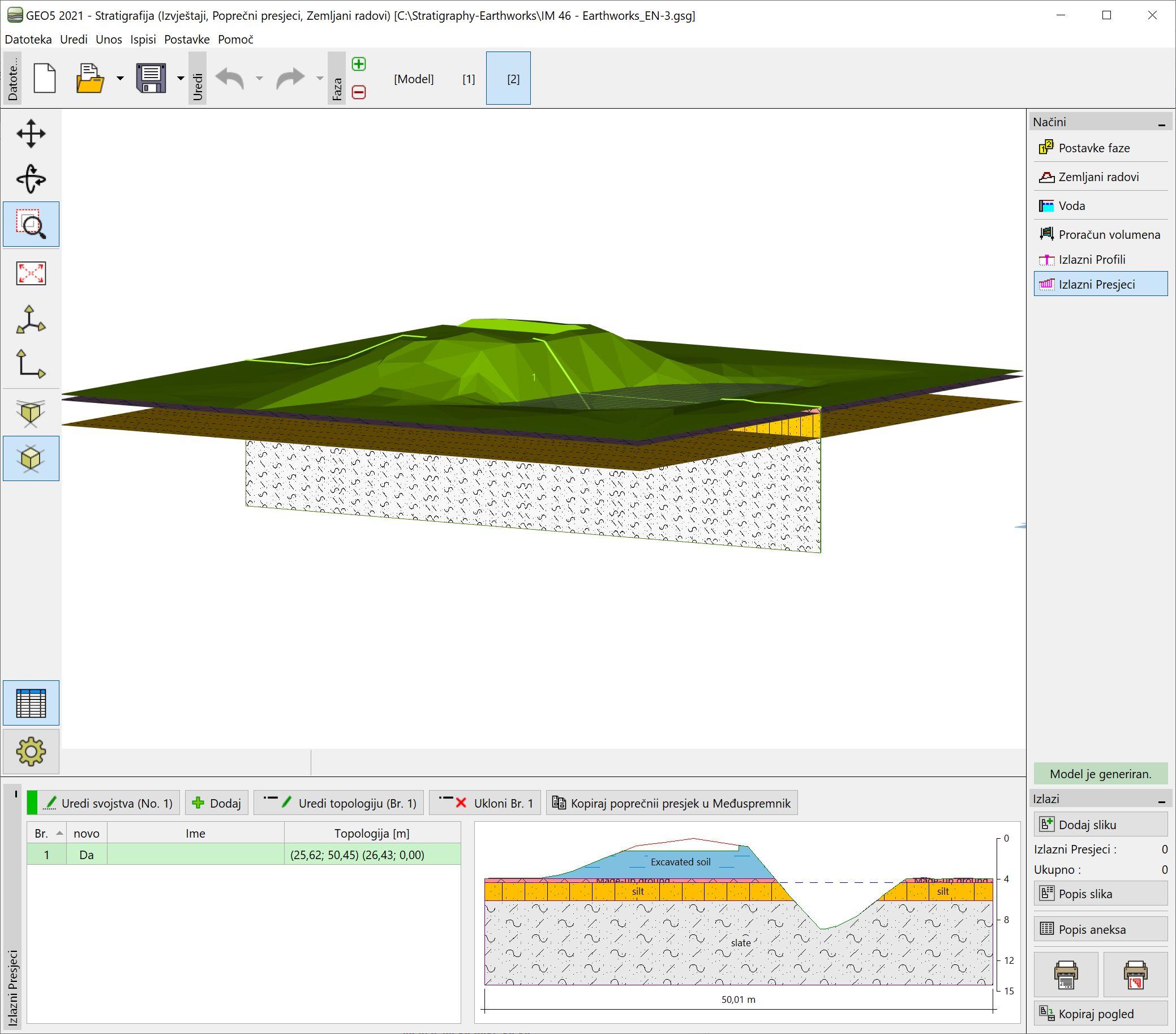 Stratigrafija – Zemljani radovi : Prijenos podataka u druge programe