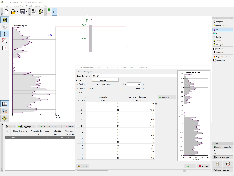 Pali CPT : Inserimento dati da prove CPT