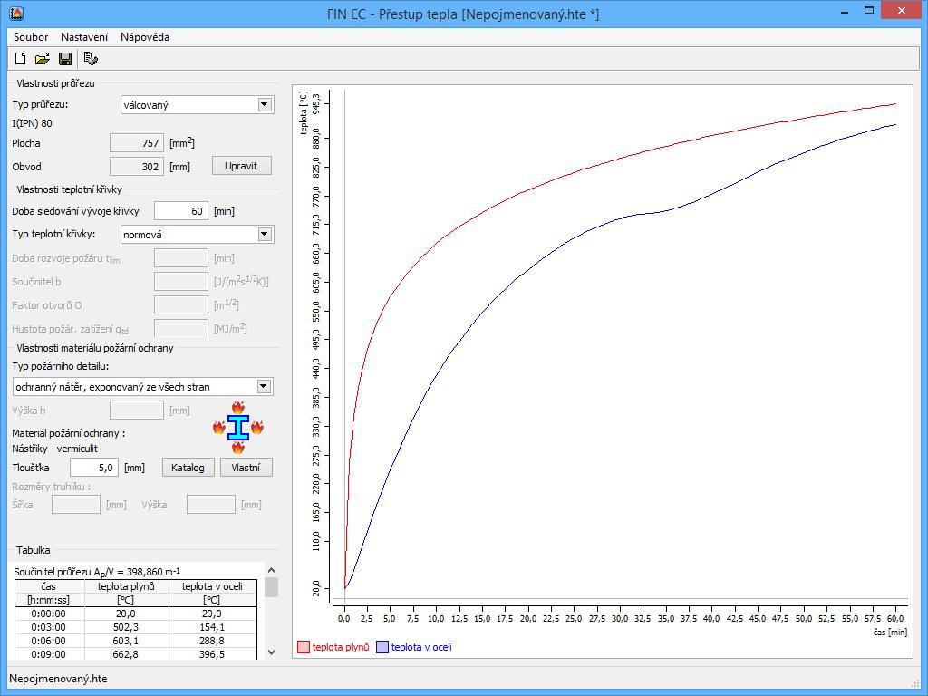 Přestup tepla : Základní okno aplikace