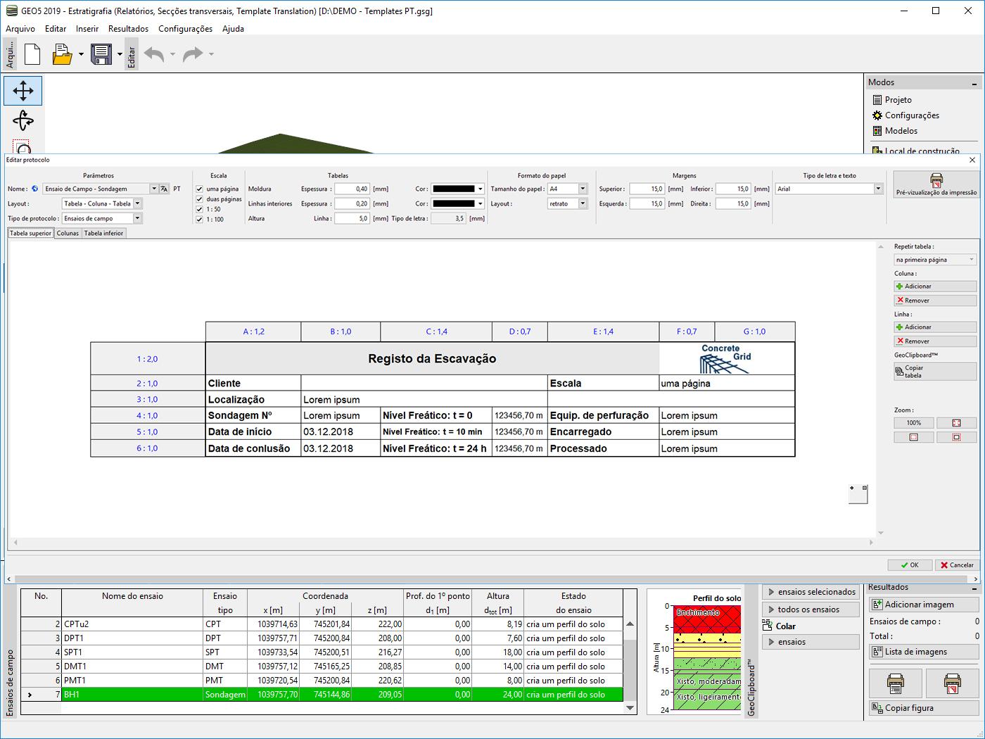 Estratigrafia – Relatórios : Personalização do cabeçalho de um relatório