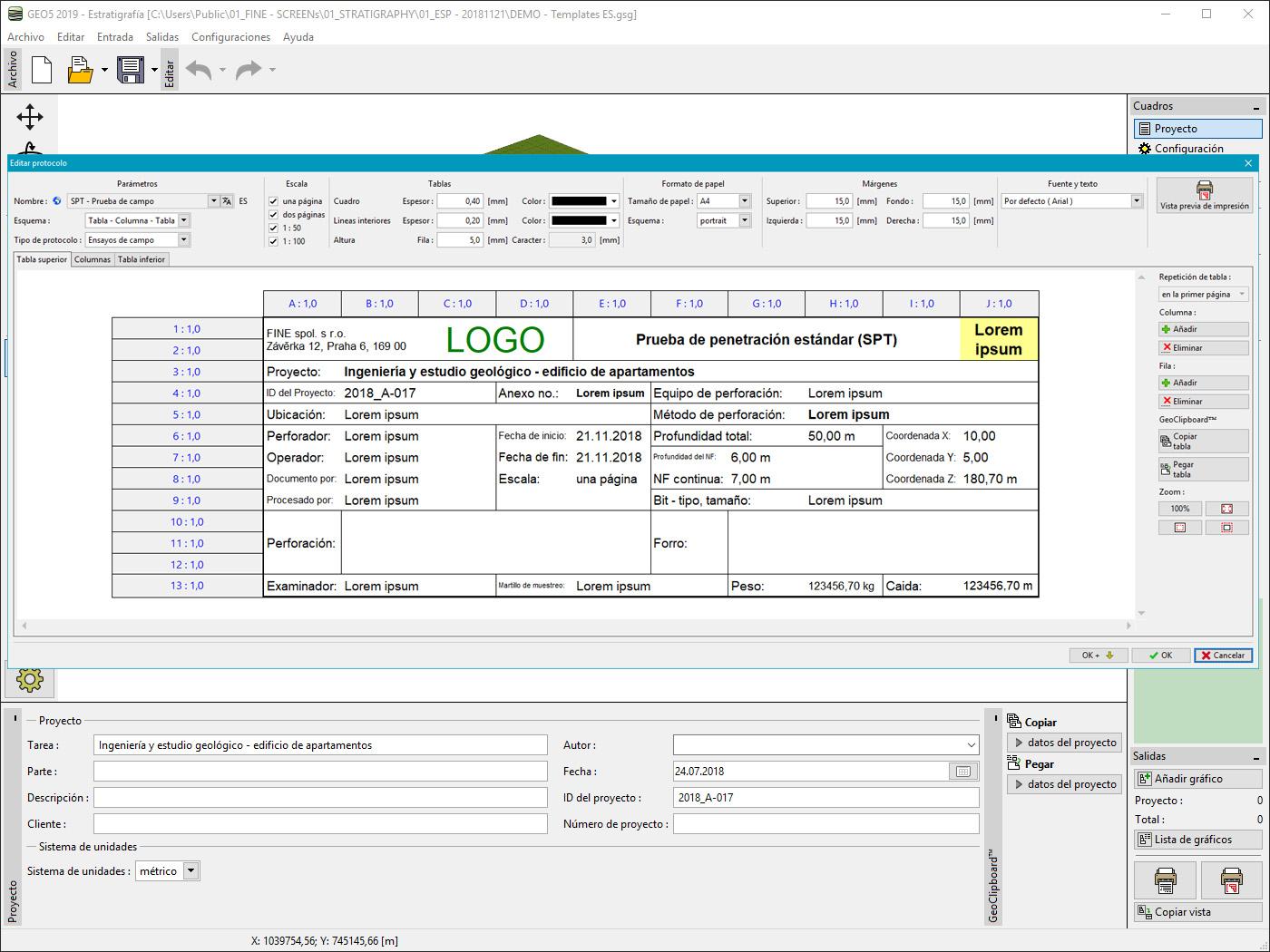 Estratigrafía – Registros : Personalización del encabezado del protocolo