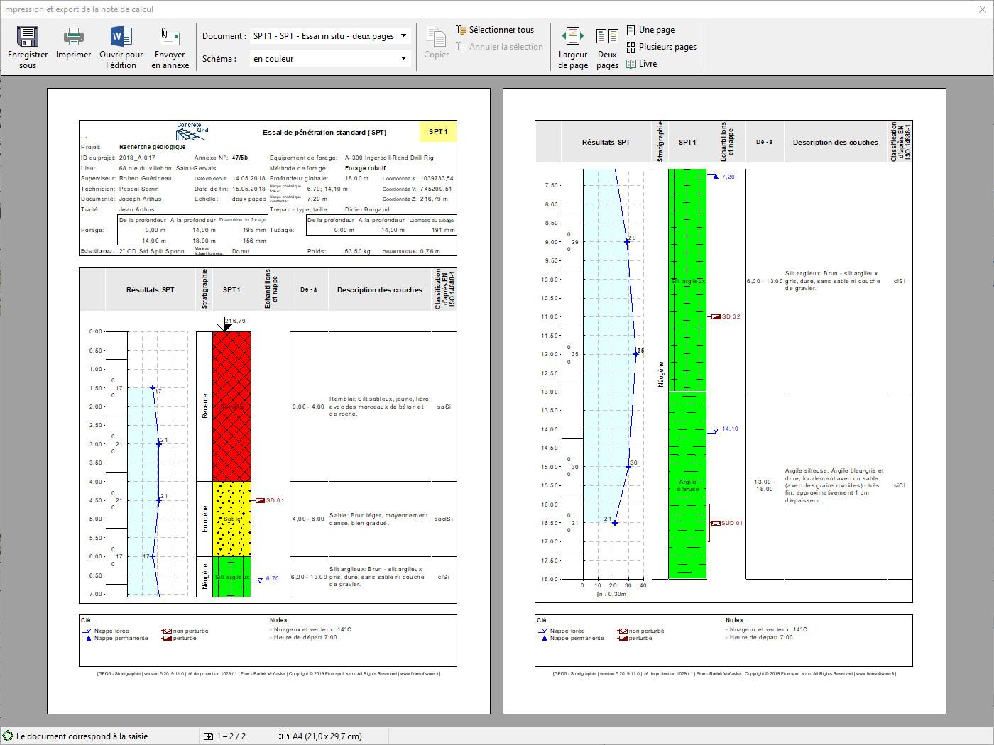 Stratigraphie – Logs : Prévisualisation du rapport avant impression