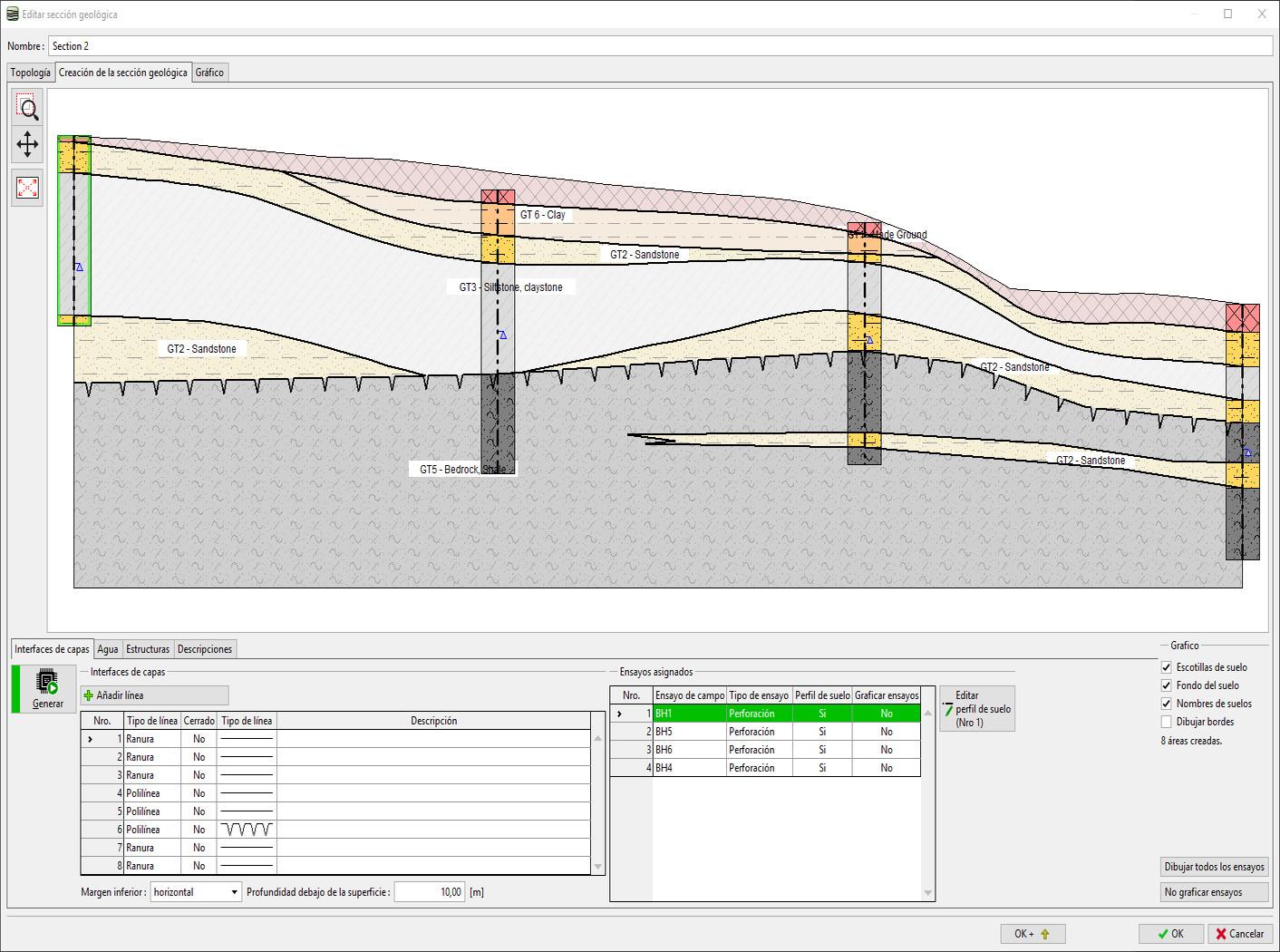 Estratigrafía – Perfiles Geológicos : Configuración de gráficos de ensayos de campo para sección geológica