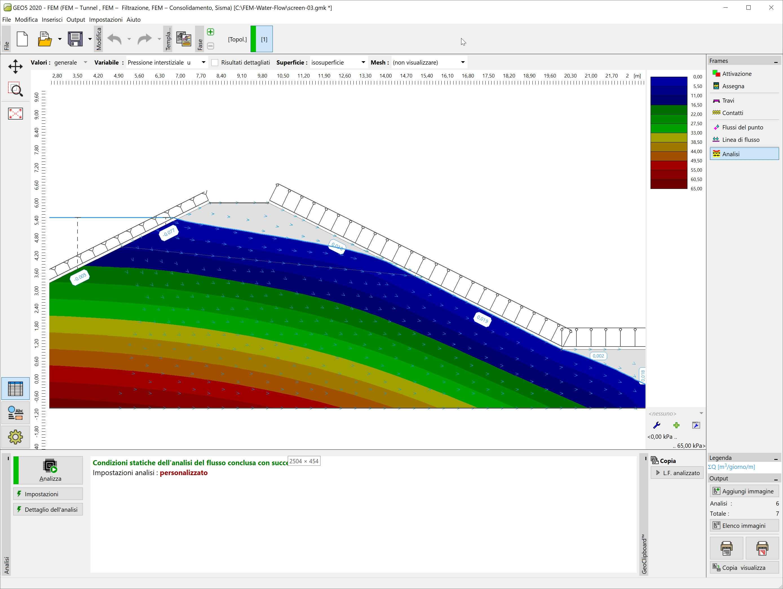 FEM - Filtrazione : Visualizzazione della pressione interstiziale