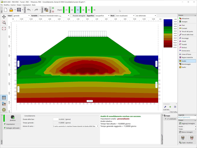 FEM - Consolidazione : Visualizzazione pressione interstiziale