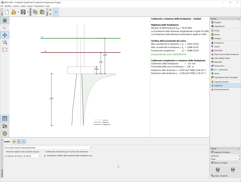 Fondazioni Superficiali : Analisi di cedimenti e rotazioni