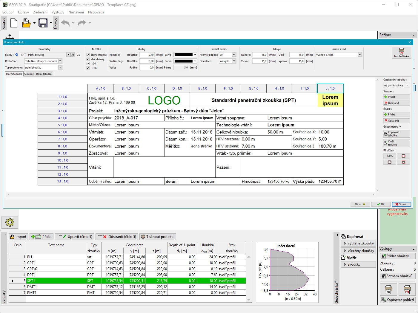 Stratigrafie – Dokumentace : Editace hlavičky protokolu