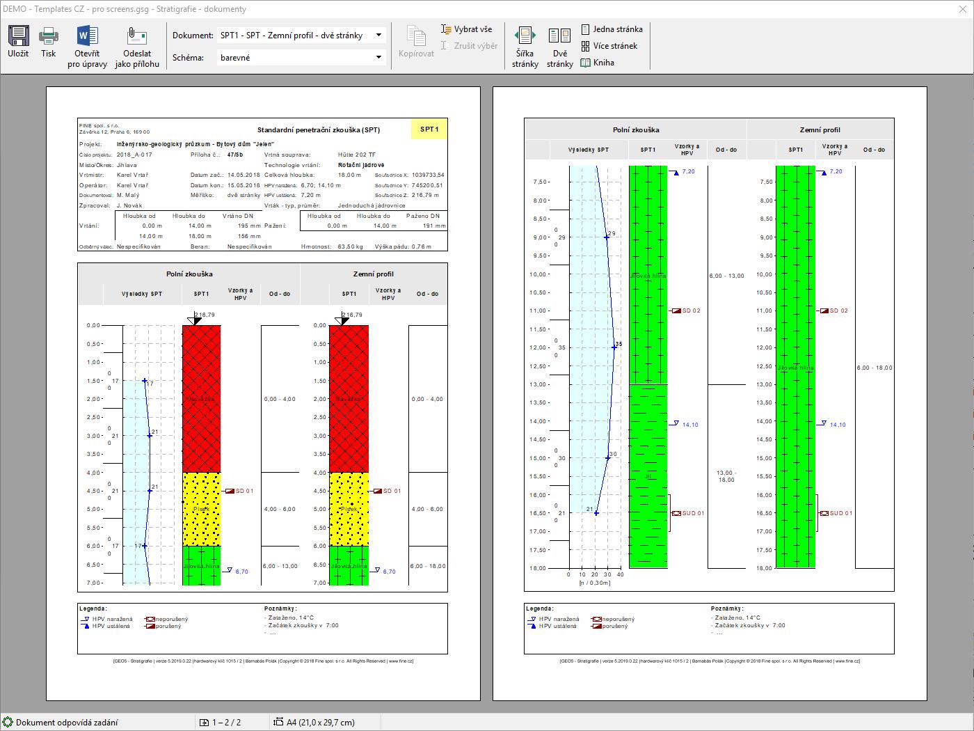 Stratigrafie – Dokumentace : Náhled výstupního protokolu