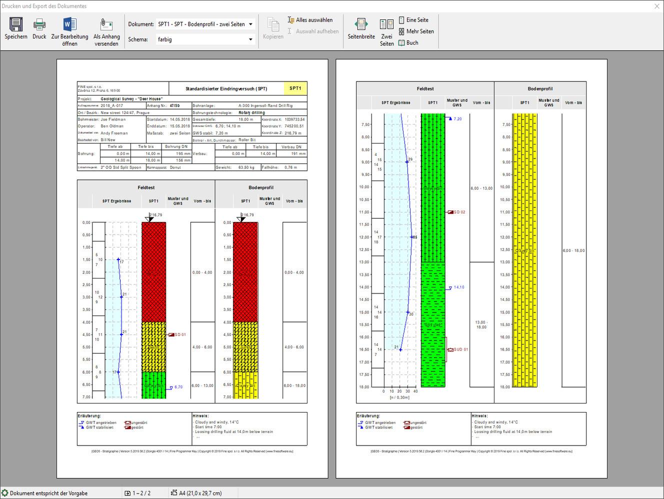 Stratigraphie – Protokolle  : Vorschau des Ausgabeprotokolls