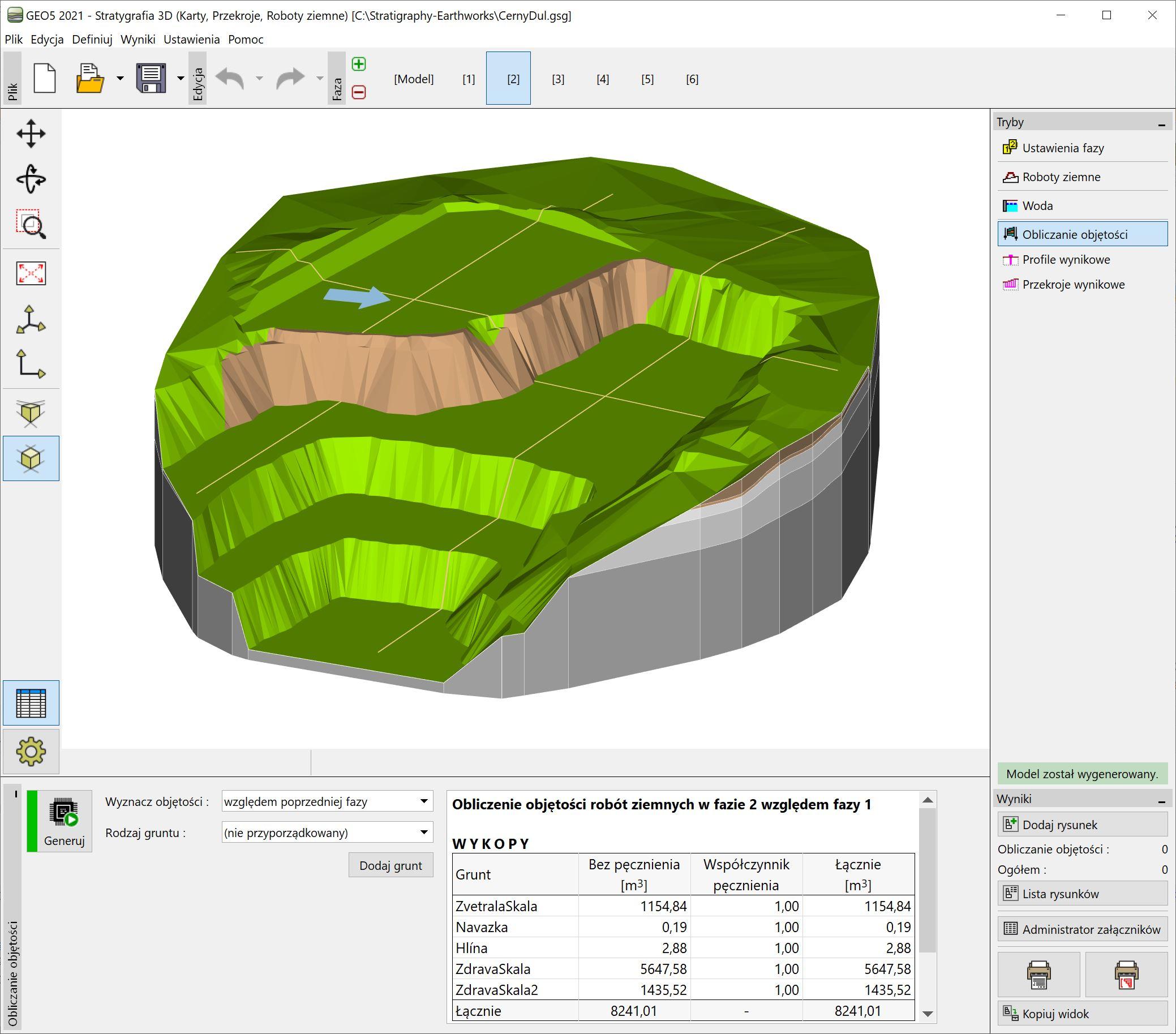 Stratygrafia 3D – Roboty ziemne : Obliczanie objętości
