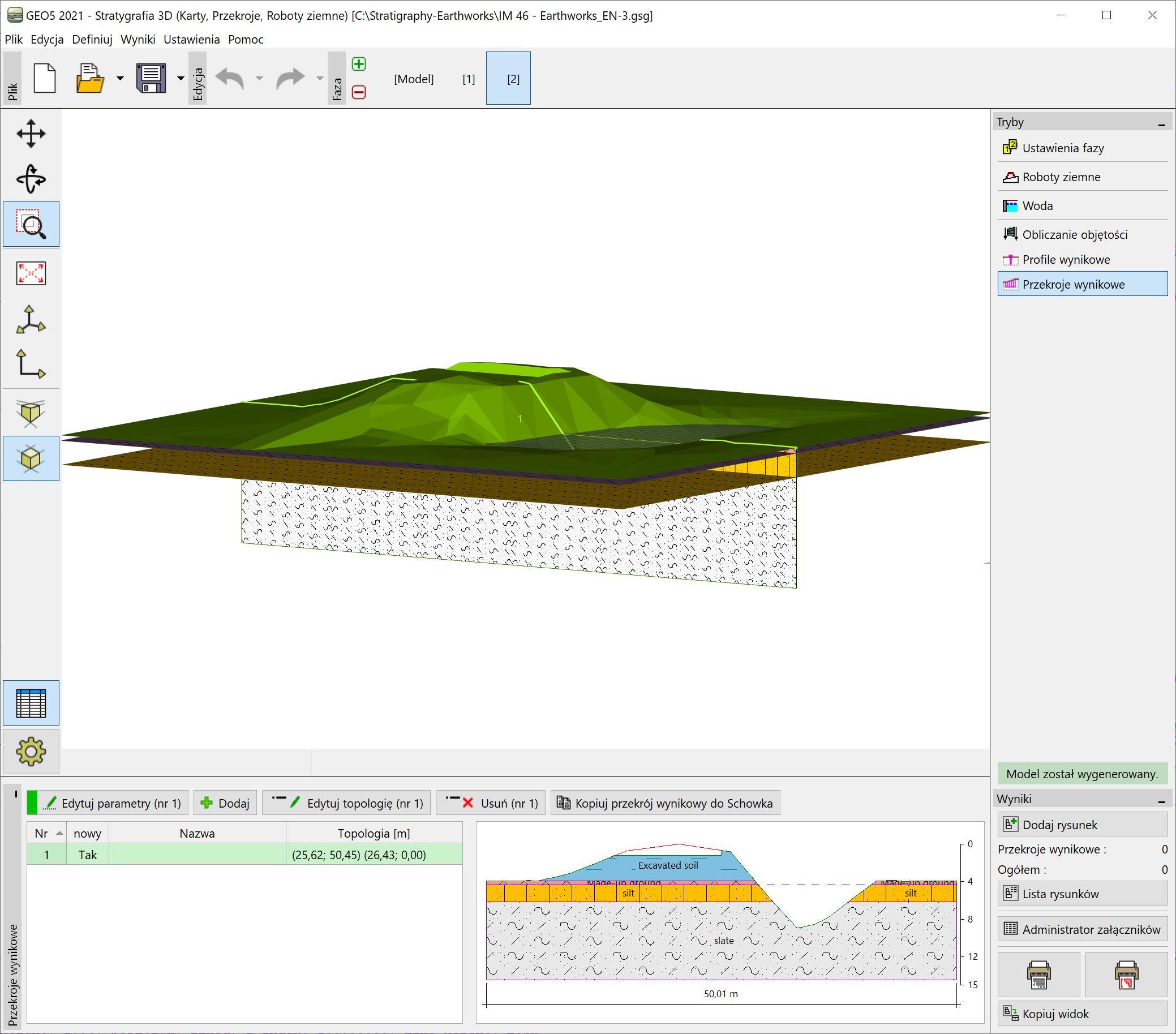 Stratygrafia 3D – Roboty ziemne : Transfer danych do innych programów