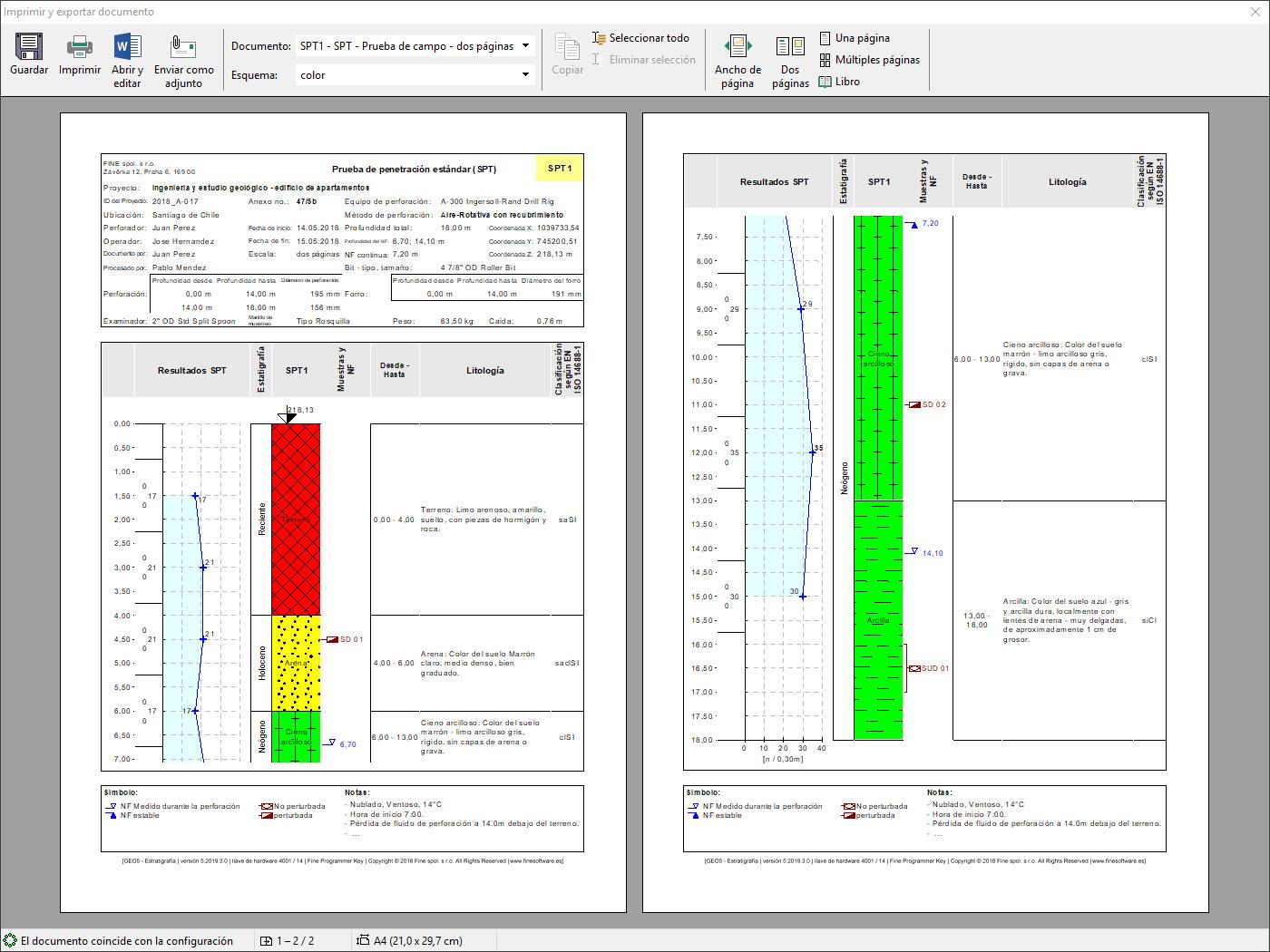 Estratigrafía – Registros : Vista previa de protocolos de salida