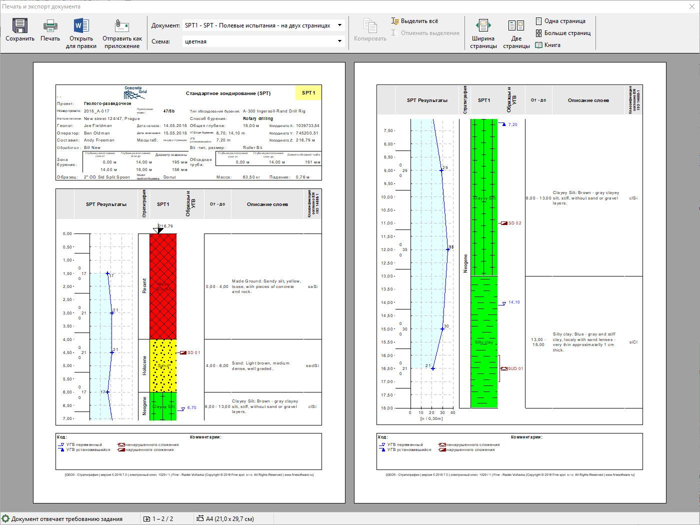 Стратиграфия - Таблицы : Вывод протокола для предварительного просмотра перед печатью