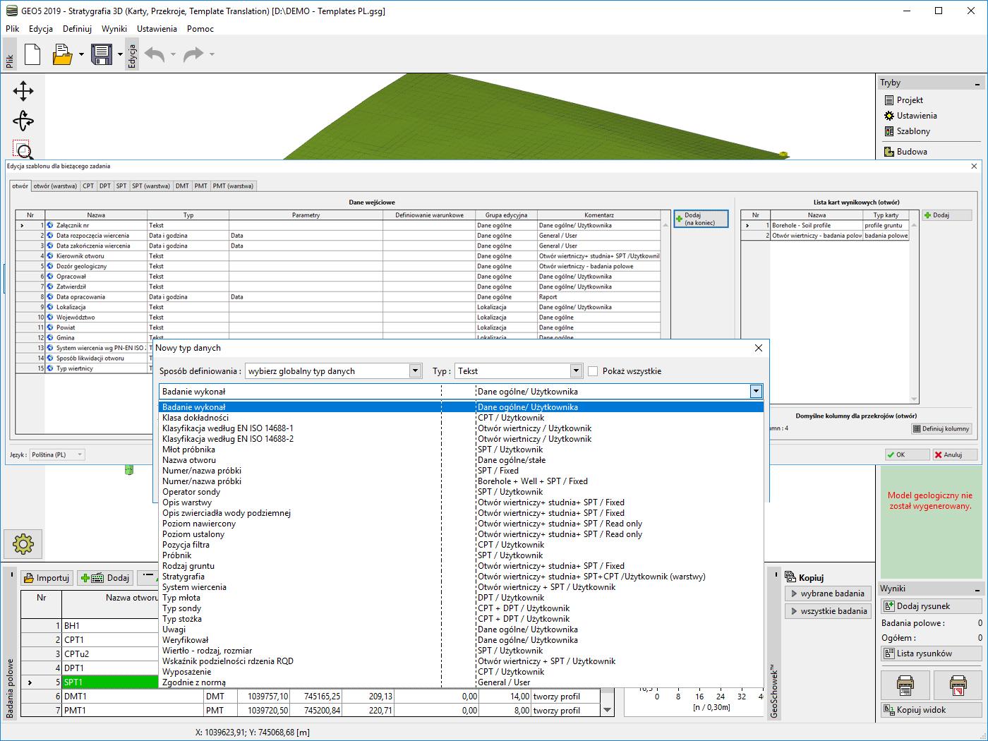 Stratygrafia 3D – Karty : Wybór danych do szablonu