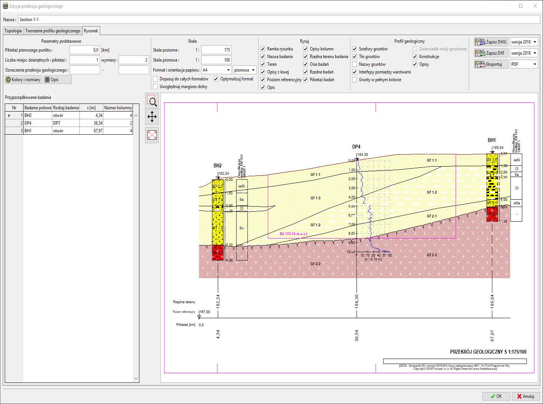 Stratygrafia 3D – Przekroje : Ustawienia rysowania badań polowych na przekroju geologicznym