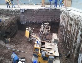 Instalace kotev a provedení výrubu zeminy.